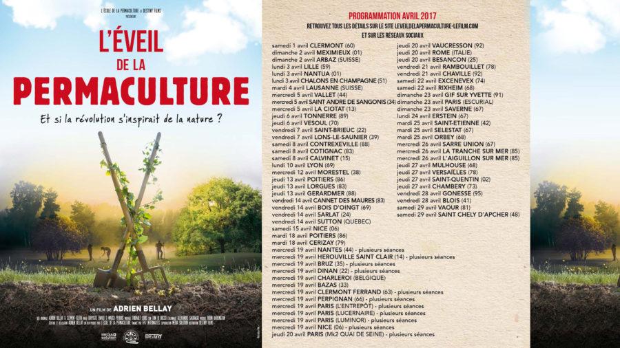 Où voir le film l'Éveil de la Permaculture en avril 2017